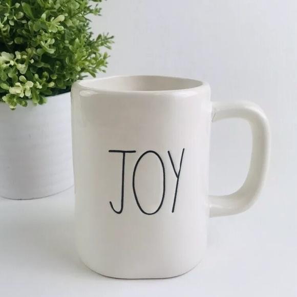 NEW Rae Dunn by Magenta Jet Set Coffee Tea Mug Cup All White FARMHOUSE
